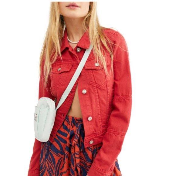 Free People Rumor Red Jean Jacket XS NWT